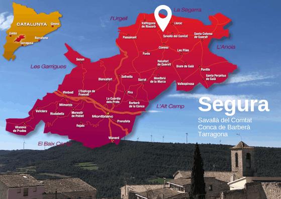 mapa de ubicación de escuela del arte de vivir en Segura, Tarragona
