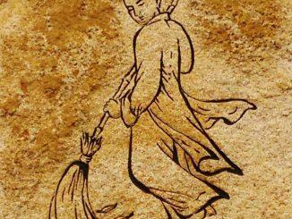 monje zen barriendo